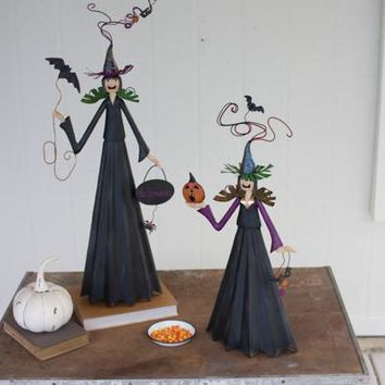 Set Of 2 Painted Metal Witches