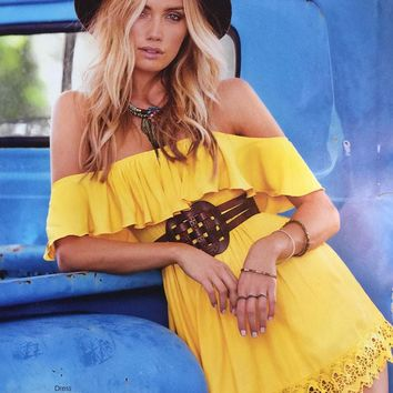 Hello Yellow Ruffle Top Boho Dress
