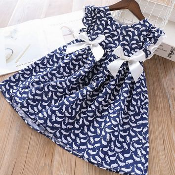 Dolphin Print Bowknot Party Dress  For Baby Girls