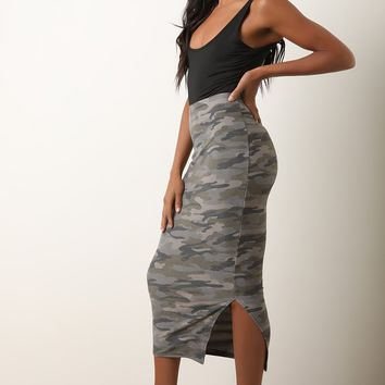 Camouflage Side Slit High Rise Skirt