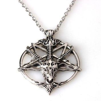 ac PEAPO2Q Baphomet Inverted Pentagram Goat Head Pendant Necklace Baphomet LaVeyan LaVey Satanism Occult Metal Pendant
