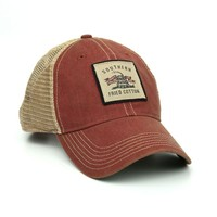 Don't Tread Patch Trucker Hat in Cardinal by Southern Fried Cotton