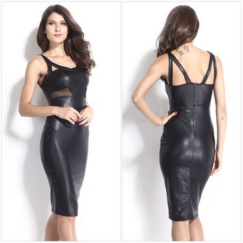 Faux Leather Cutout Mesh Straps Zipper-Back Dress