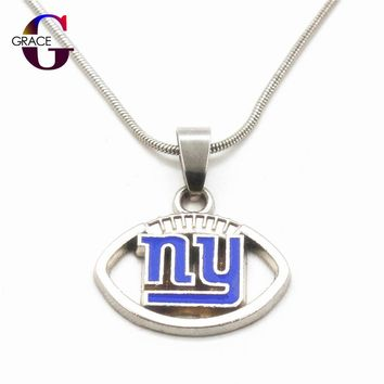 Fashion New York Giants Team Charms Football Sports Pendant Necklace With Snake Chain(45+5cm) Necklace For Women DIY Jewelry
