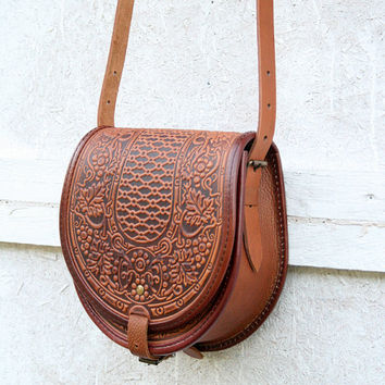 Tooled Light Brown Leather Bag Shoulder Crossbody Handbag Ethnic