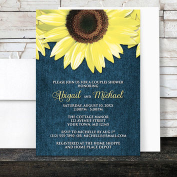 Sunflower Couples Shower Invitations - Rustic Yellow Floral and Blue Denim design - Printed Invitations