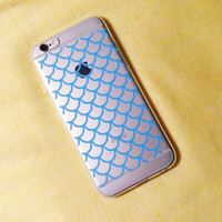 Mermaid Scales Blue Silicone Iphone 6 Case