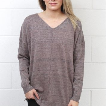 Metallic Weave Back Knit Sweater {Rose Mocha}