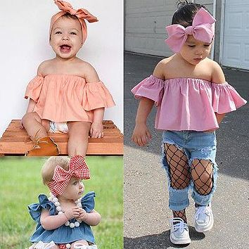 Kids Baby Girls Off Shoulder T-shirt Tops+Bowknot Headband 2PCS Set Clothes Cute Summer Clothing Summer Outfits