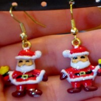 Vintage Santa Claus Gold Plated Earrings