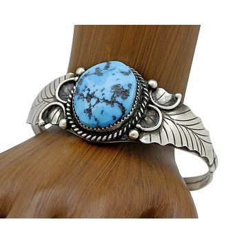 1970's Navajo Indian Blue Turquoise Handmade .925 SOLID Silver Cuff Bracelet