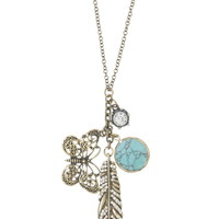 Butterfly And Feather Cluster Necklace - Blue