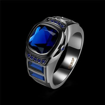 Fashion Vintage Watch Clock Female Men Rings Black Gold Austria Crystal Stone Finger Rings For Women Man Anel Jewelry Party Gift