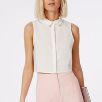 Missguided - Sleeveless Cropped Shirt White