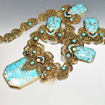 Enamel Art Deco Necklace Turquoise Czech Glass Gold Filigree Art Deco Jewelry Antique Jewelry