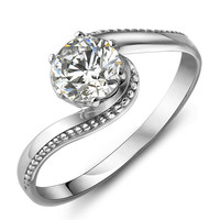 925 Sterling Silver Engagement Wedding CZ Ring with Twisted Arm