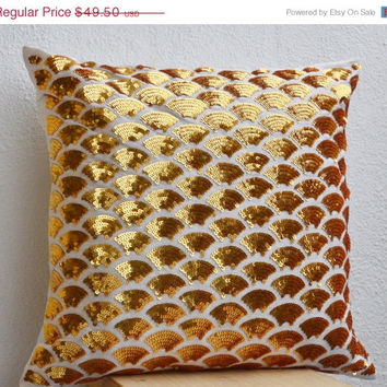 Valentine SALE Gold sequin pillows with embroidered waves -Gold covers -Metallic Gold Cushions zipper -Throw pillow -gifts -20x20 -Metallic