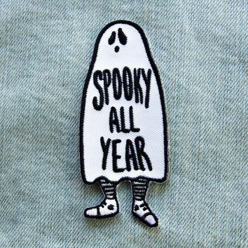 """""""Spooky All Year"""" Ghost Iron On Patch"""