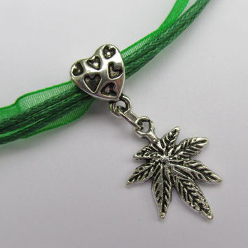Pot Leaf Charm Green Necklace, Heart Embossed Bail, Marijuana Charm,  Green Weed Necklace, Birthstone, 7 Leaf Cannabis Charm Necklace,Hippie