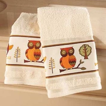 Owl Bathroom Hand Towel Set Collection Accessories Owls Decor Nature Colorful