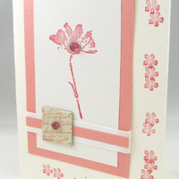 All Occasion Card - Shabby Chic Card - Hand Stamped - Pink Flowers - Blank Card - Just a Note - Pink and White Card - Charming Details