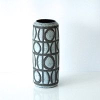 WEST GERMAN POTTERY Vase, 1960s, Scheurich 532/28, Tall Graphic Geometric, Bold Patterned, Black White Grey, Fat Lava, Modern Midcentury
