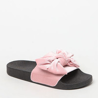 Qupid Velour Bow Slide Sandals at PacSun.com