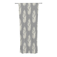 "Amanda Lane ""Feathers Gray Cream"" Grey Pattern Decorative Sheer Curtain"
