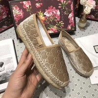 GUCCI Fashion Women Casual Slip-On Flat Shoes Single Shoe Fisherman Shoes Khaki I-ALS-XZ