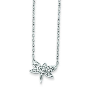Sterling Silver Rhodium-plated CZ Dragonfly Necklace QG3696