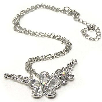 Double Silver Crystal Flower Link Necklace