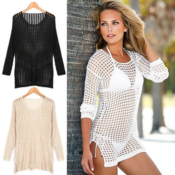 Womens Sexy Bikini Cover Up Mesh Hollow Crochet Long Sleeve Swimwear Beach Dress = 1956450564