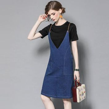 Woman dark blue denim dress fashion casual preppy denim dress set