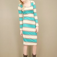 slinky green striped dress in stretch jersey with a mid-length hem | shopcuffs.com
