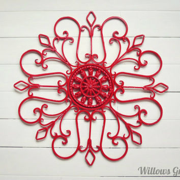 Metal Wall Scroll / Outdoor Decor / Wall Medallion / Scroll / Garden Decor / Home Decor / Wall Hanging / Customize Colors / Housewarming