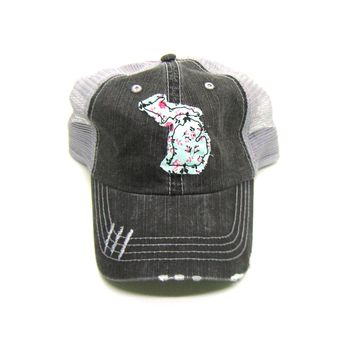 Michigan Trucker Hat - Distressed - Floral Fabric State Cutout