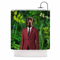 "Natt ""Into The Leaves N2"" Green Dog Shower Curtain"