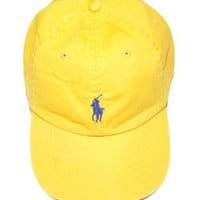 Polo Ralph Lauren Men Pony Logo Adjustable Hat Cap (One size, Yellow)