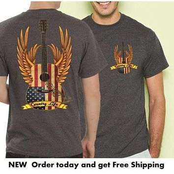 Country Life Outfitters USA American Flag Guitar Wings Vintage Unisex Gray Bright T Shirt