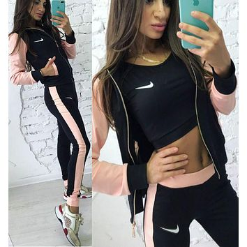 NIKE:Fashion Letter Long Sleeve Shirt Sweater Pants Sweatpants Set Two-Piece Sportswear