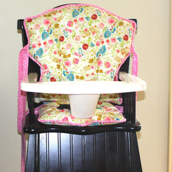 Custom Eddie Bauer Emmy Grace High Chair Cushions, High Chair Pads, High Chair Cover, Highchair Pads, Wooden Highchair Cover