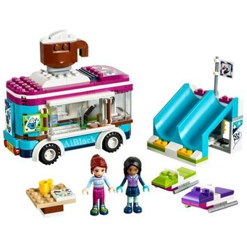 Snow Resort Chocolate Car Bricks Compatible With Legoing Friends 41319 Model Building Blocks Girl Birthday Gift Toys