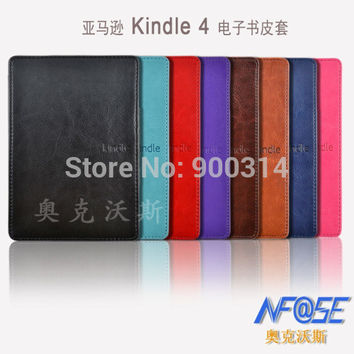 protective case for amazon kindle 4 AND 5 6'' ereader,build-in lighted protective pu leather magnetic cover  for kindle