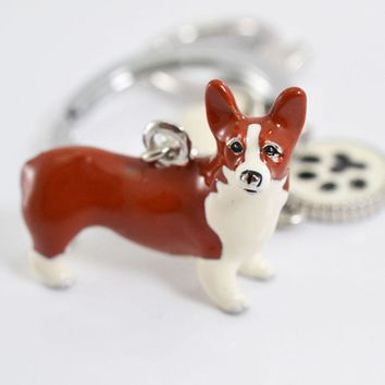 3D Pet Dog Keychains Hand-painted Craft Cute Dogs Key Ring Border Collie Shelti HUSKY Metal Car Keychain jewelry woman bag key