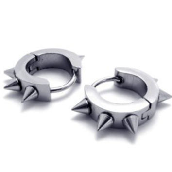 Stainless Steel Spike Cuff Earrings-Color Black