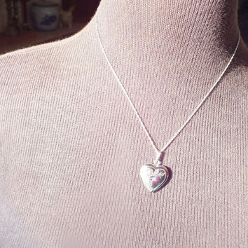Silver Heart Locket Pendant Necklace on 19 Inch Silver Link Chain, Marked 925