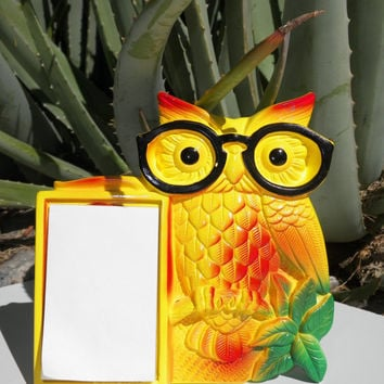 Vintage Owl Wall Decor. Note Pad. MILLER STUDIO. c. 1970. Vibrant. Yellow Owl. Ceramic Owl. Chalkware. Wise Owl.