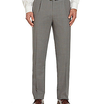 Hart Schaffner Marx Tailored Single-Pleat Dress Pants - Grey