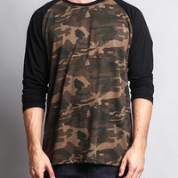 Men's Baseball T-Shirt TS900 (Olive Camo/Black) - B12C