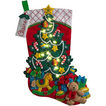 "Christmas Tree Surprise w/String Lights Bucilla Felt Stocking Applique Kit 18"" Long"